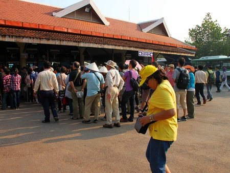 indo china: SIEMREAP, KHMER REPUBLIC - FEBRUARY 11 : The unidentified tourists are waiting for tickets to Khmer ancient architecture on February 11, 2012 at Siemreap, Khmer Republic.