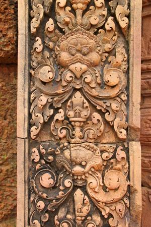 handscraft: Pink stone carvings of Banteay Srei, Siemreap, Khmer Republic.