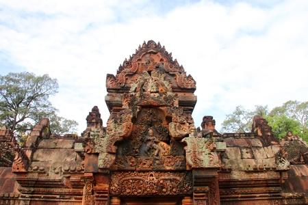 Pink stone carvings of Banteay Srei, Siemreap, Khmer Republic. photo