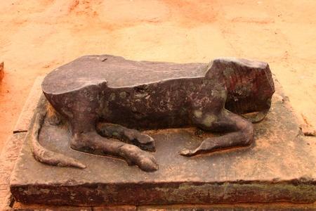 Pink stone cow statue carvings of Banteay Srei, Siemreap, Khmer Republic. photo