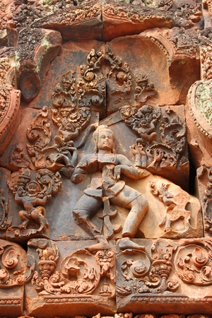 Pink stone carvings of Banteay Srei, Siemreap, Khmer Republic. Stock Photo - 13074210