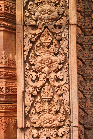 handscraft: Pink stone carvings of Banteay Srei, Siemreap, Khmer Republic.