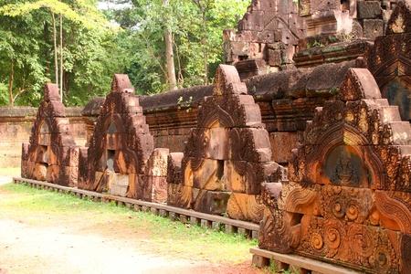 handscraft: Pink stone pediment carvings of Banteay Srei, Siemreap, Khmer Republic.
