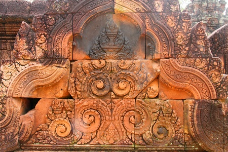 Pink stone carvings of Banteay Srei, Siemreap, Khmer Republic. photo