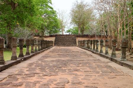 handscraft: Entrance way to ancient sandstone architecture of Prasat Khao Panom Rung, Buriram, Thailand.