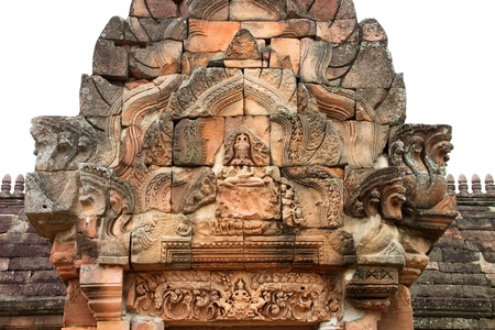 handscraft: Lintel and pediment sandstone carvings in Prasat Khao Panom Rung, Buriram, Thailand.