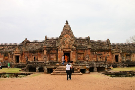 CHALERMPHRAKIEAT, BURIRAM - FEBRUARY 18 : The unidentified tourists are traveling to Khmer style architecture of Prasat Khao Panom Rung on February 18, 2012 at Chalermphrakieat, Buriram, Thailand.