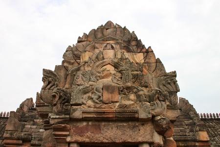 pediment: Pediment texture sandstone carvings in Prasat Khao Panom Rung, Buriram, Thailand.