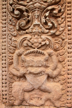 Sandstone carvings on wall in architecture of Prasat Khao Panom Rung, Buriram, Thailand. Stock Photo - 13199797