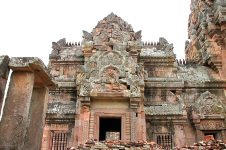 handscraft: Ancient sandstone architecture of Prasat Khao Panom Rung, Buriram, Thailand. Stock Photo