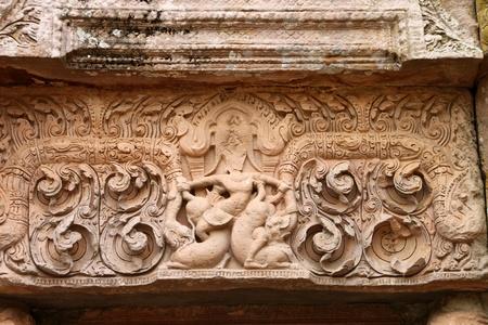 lintel: Lintel texture sandstone carvings in Prasat Khao Panom Rung, Buriram, Thailand.