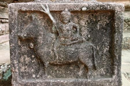 handscraft: Sandstone carvings by gateway of architecture of Prasat Khao Panom Rung, Buriram, Thailand. Stock Photo
