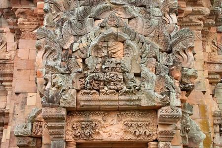lintel: Lintel and pediment sandstone carvings in Prasat Khao Panom Rung, Buriram, Thailand.