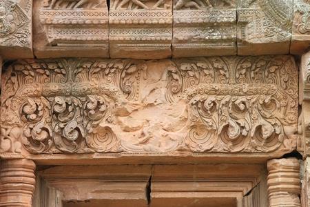 Lintel texture sandstone carvings in Prasat Khao Panom Rung, Buriram, Thailand  photo