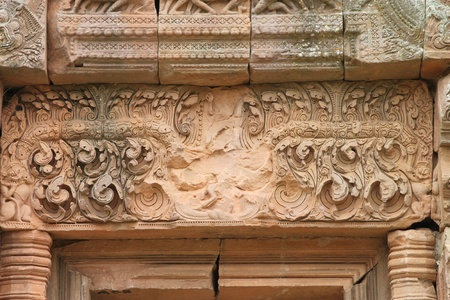 lintel: Lintel texture sandstone carvings in Prasat Khao Panom Rung, Buriram, Thailand