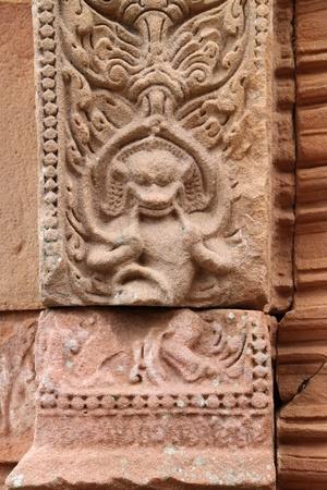 handscraft: monkey, statue sandstone carvings on post in architecture of Prasat Khao Panom Rung, Buriram, Thailand  Stock Photo