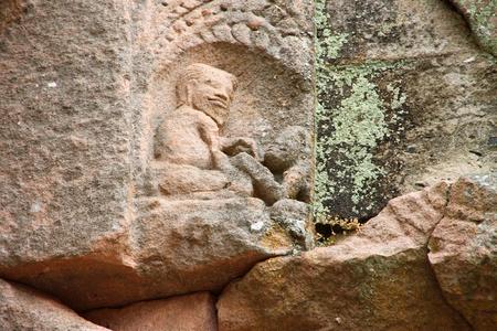 Sandstone carvings on pediment in architecture of Prasat Khao Panom Rung, Buriram, Thailand Stock Photo - 13199844