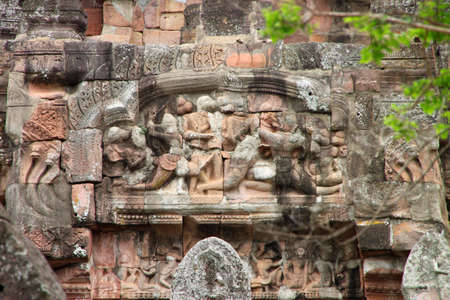 pediment: Lintel and pediment sandstone carvings in Prasat Khao Panom Rung, Buriram, Thailand