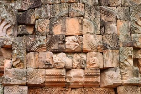 handscraft: Pediment texture sandstone carvings in Prasat Khao Panom Rung, Buriram, Thailand  Stock Photo