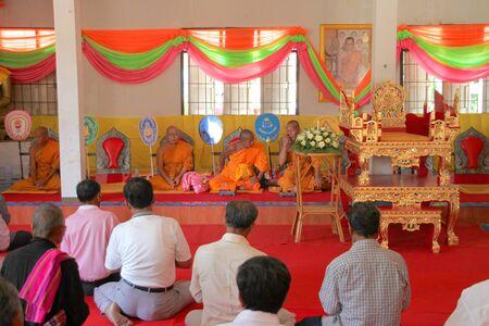 mahasarakham: NACHUAK, MAHASARAKHAM - APRIL 10 : Unidentified Buddhists are in religious merit activities on April 10, 2012 at Wat Nong Kung, Nachuak, Mahasarakham, Thailand.