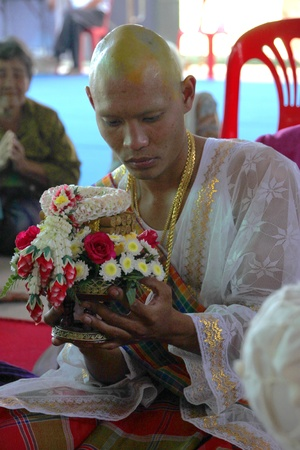 YANGSRISURAT, MAHASARAKHAM - MARCH 22 : Unidentified man in naga clothes is in ordination ceremony on March 22, 2012 at Wat Nongbuasantu, Yangsrisurat, Mahasarakham, Thailand. Stock Photo - 13491304