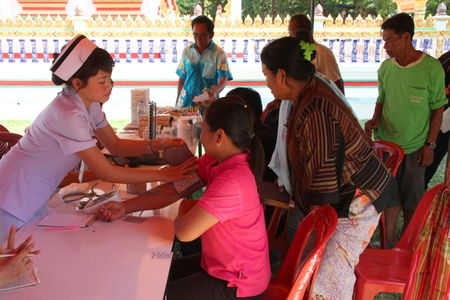 NACHUAK, MAHASARAKHAM - APRIL 19 : Unidentified nurses from public hospital are in medical services on April 19, 2012 at Wat Nong Bung, Nachuak, Mahasarakham, Thailand. Editorial