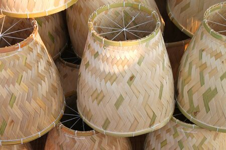 earthenware steamers made from woven Thrysostachys siamensis Gamble bamboo Stock Photo - 13529107