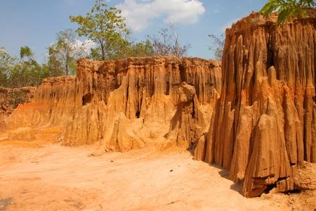 Lalu - natural collapse soil many shapes similar as cliffs wall, Sra Kaeo, Thailand.