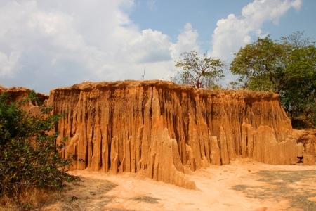 Lalu - natural collapse soil many shapes similar as cliffs wall, Sra Kaeo, Thailand. Editorial