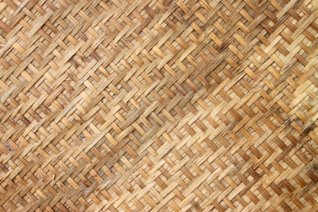 Local Thai bamboo wicker basket wooden background Stock Photo