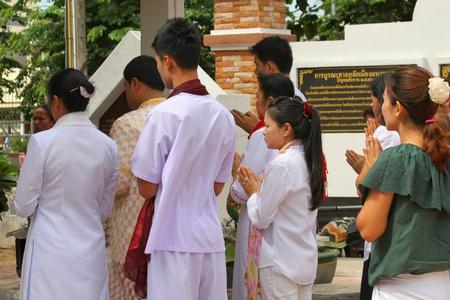 MUANG, MAHASARAKHAM - JUNE 16 : Unidentified Brahmans are in worship the shrine of city pillar on June 16, 2012 at The shrine of city pillar, Muang, Mahasarakham, Thailand.