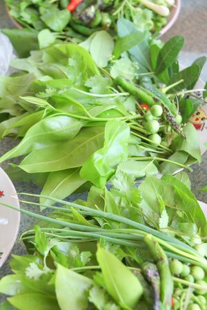 Fresh leaves of vegetables for side dishes of Thai food photo