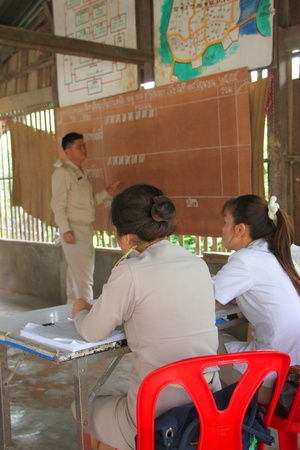 MUANG, MAHASARAKHAM - JUNE 29 : Unidentified officers are checking scores in village level election on June 29, 2012 at Ban Moh (Pottery village), Muang, Mahasarakham, Thailand.