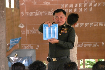 MUANG, MAHASARAKHAM - JUNE 29 : Unidentified officer is announcing scores in village level election on June 29, 2012 at Ban Moh (Pottery village), Muang, Mahasarakham, Thailand. Stock Photo - 14339296
