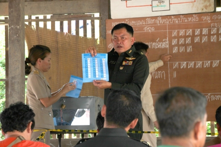 MUANG, MAHASARAKHAM - JUNE 29 : Unidentified officer is announcing scores in village level election on June 29, 2012 at Ban Moh (Pottery village), Muang, Mahasarakham, Thailand. Stock Photo - 14339290