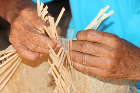 Traditional handmade bamboo weaving in rural Thai Stock Photo