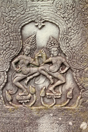 Sandstone carving on wall of Prasat Bayon, Angkor Thom, Siamreap, Khmer Republic photo