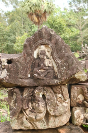 cambodge: Piles of sandstone carving of Prasat Bayon, Angkor Thom, Siamreap, Khmer Republic Stock Photo