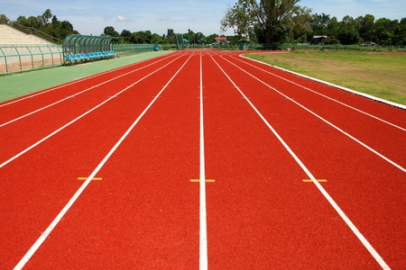 Running tracks for athletic in new outdoor stadium photo