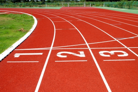 Running tracks for athletic in outdoor stadium photo
