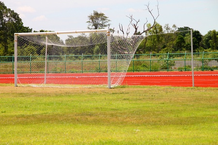 Goal in football ground in outdoor stadium  photo