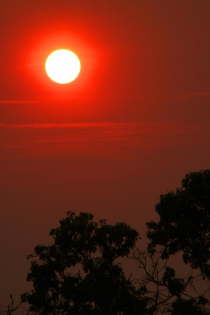 cambodge: Sunset at Phnom Bakheng Prasat, Siamreap, Khmer Republic Stock Photo