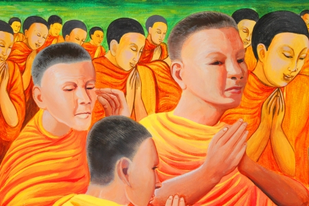 Buddhas biography painting on wall of temple, Wat Sri Sawat, Mahasarakham, Thailand