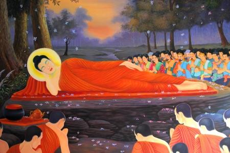Buddhas biography painting on wall of temple, Wat Sri Sawat, Mahasarakham, Thailand