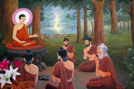 meditation pray religion: Buddhas biography painting on wall of temple, Wat Sri Sawat, Mahasarakham, Thailand