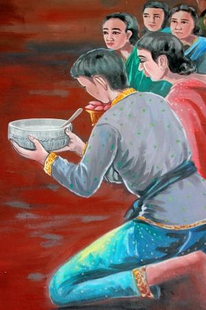 merit: Making religious merit, painting on wall of temple, Wat Kud Sui, Mahasarakham, Thailand