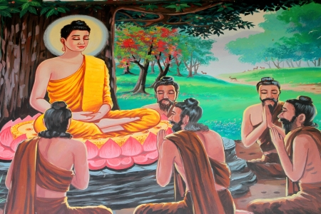 Buddha's biography painting on wall of temple, Wat Kud Sui, Mahasarakham, Thailand Stock Photo - 14628622