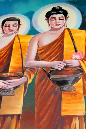Buddhas biography painting on wall of temple, Wat Kud Sui, Mahasarakham, Thailand