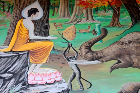 Buddhas biography painting on wall of temple, Wat Kud Sui, Mahasarakham, Thailand