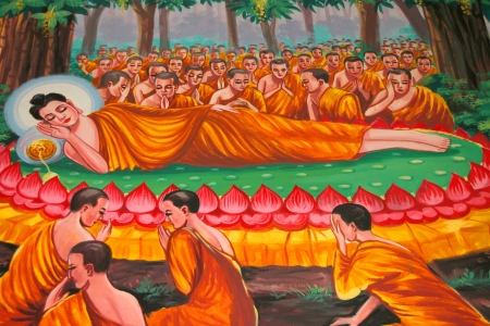 Buddha's biography painting on wall of temple, Wat Kud Sui, Mahasarakham, Thailand